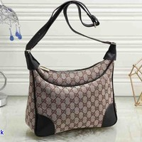 GUCCI fashion printed patchwork color shoulder bag hot seller of casual lady shopping bag Black