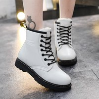 Student hairy flat bottom short boots women winter thickening Martin boots white red black round head tie PU flat heel boots886