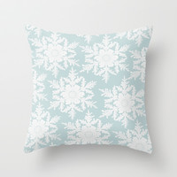 Wedgewood Blue Winter Christmas Snowflake Design Throw Pillow by secretgardenphotography [Nicola]