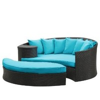 LexMod Taiji Outdoor Wicker Patio Daybed with Ottoman in Espresso with Turquoise Cushions