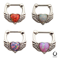 Online Shop 1pcs/lot 316L Surgical Steel And Red Pink Opal Heart And Wing Septum Clickers Nose Hoops Nose Ring 16g Septum Piercing|Aliexpress Mobile