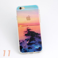 Beautiful Ocean Dawn Scenery Print Soft TPU Transparent Phone Back Case Cover Shell For iPhone 5 5S 6 6s 6 Plus 6s Plus 7
