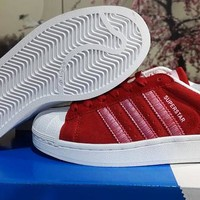 BNWB & Genuine Adidas Originals Superstar RT Triple Red Suede Trainers All Sizes