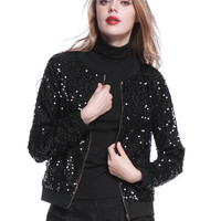Black Sequins Zip Up Bomber Jacket