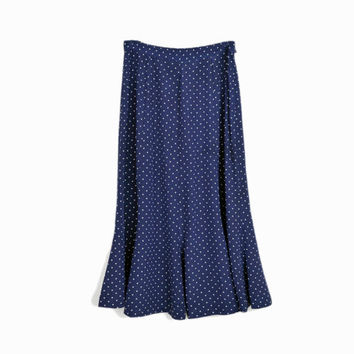 Vintage Navy Blue Polka Dot Skirt / Dotted Midi Skirt - women's small