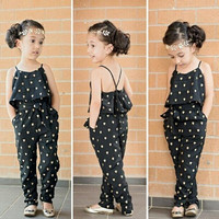 2017 Fashion Kids Baby Girls Clothes Sleeveless Jumpsuit Trousers Romper Outfits Summer Clothes for Little Girls CCS248