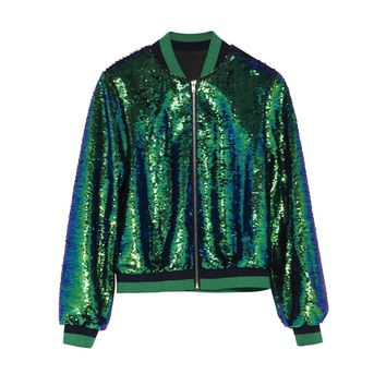 Green Sequined Bomber Jacket