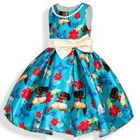 Girls Dress New Summer Costume Fashion Kids Dress Bow Party Moana Princess Dresses For Girls Children Clothing Baby Girl Clothes