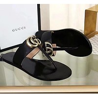 GG G Double leather thong sandals shoes Black