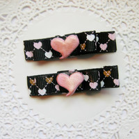 Pink Shimmering Heart Hair Clips Baby Bows for Babies Girls Teens and Adults Kawaii Fashion Pink Heart Love Hair Clips Baby Bows