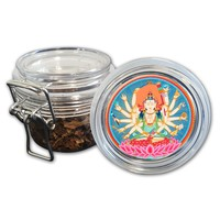 Airtight Stash Jar with Silicone Seal - Bodhisattva #2 - Food-Grade Plastic with Locking Wire Top - Smell Proof Hermes Container