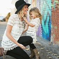 Family look mother daughter dresses summer family matching outfits white lace tassel dresses for kids clothes