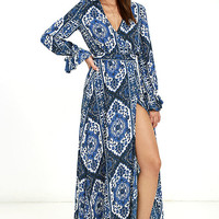 La Paz Blue Print Wrap Maxi Dress