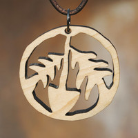 Diggin Peace Laser Cut Wooden Necklace Earth Day Jewelry