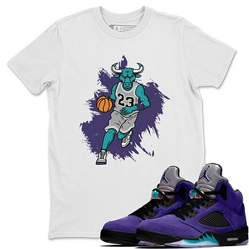 Bull Figure White T-Shirt - Air Jordan 5 Purple Grape