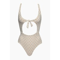 Gwen Eyelet Front Tie Cut Out One Piece Swimsuit - Pebble White
