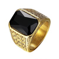 Mens Ring Stainless Steel Custom Black Solitaire Stone