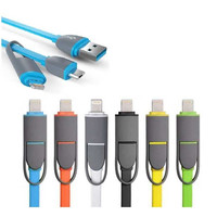 Tangle resistant 2 in 1 Lightning & Micro-USB Charge and Sync flat Cable
