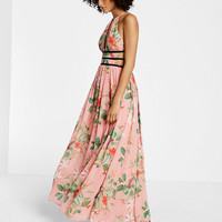 floral print strappy plunge maxi dress