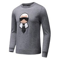 FENDI 2018 autumn and winter new tide brand little monster round neck warm knitted sweater Grey