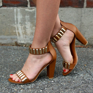 """Nyla"" Studded Ankle and Toe Strap High Heel Sandals - Camel"