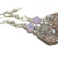 Pastel Pink Drop Dangle Earrings Silver Plated Filigree Vintage Style Formal Jewelry Womens Prom Wedding Made with Swarovski Bicones