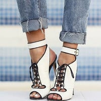 Jess Black and White Leather Sandals
