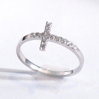 Sterling Silver and CZ Sideways Cross Ring