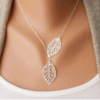 Gold And Sliver Two Leaf Pendant