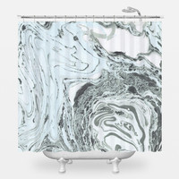 Marbled Mint Shower Curtain