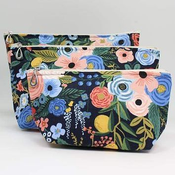 Rifle Paper Co. Cosmetic Bags - Navy Floral