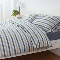 Hot Deal Bedroom On Sale Cotton Stripes Rinsed Denim Bedding Set [6451769926]