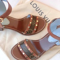 【Louis Vuitton】LV Rivet Presbyopia Stitching Lady's Flat-soled Sandals