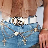 GUCCI Women Men Popular Classic Smooth Buckle Belt Leather Belt+Gift Box White