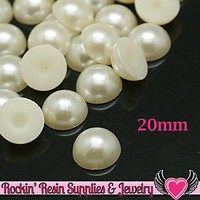 20mm 25pc Huge IVORY WHITE Half Pearls Cabochons