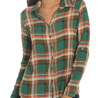 3/4 Oversized Plaid Shirt | Shop Tops at Wet Seal