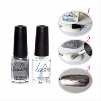 Brand 2 Pcs 6 ML Silver Mirror Effect Metal Nail Polish Varnish Metallic Nails Art Tips Nail Polish Set
