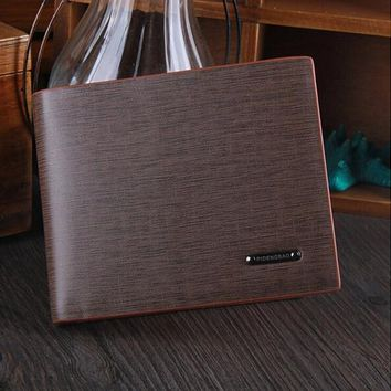 Men's Casual Leather Fashion Card Holder Bifold Wallet Brown Christmas Gift Father Gift
