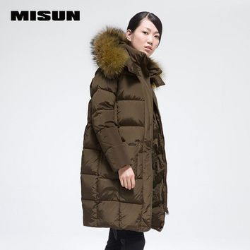 MISUN winter jacket women cocoon raccoon fur with a hood long-sleeve zippers thickening medium-long outerwear down coat & parkas