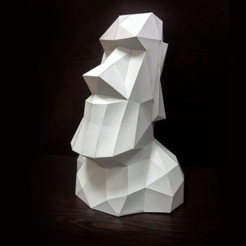 Printable Paper Model Of Moai 3D Trophy - Folding DIY Template