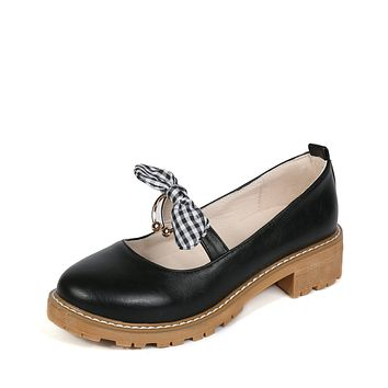 Bowknot Mary Janes Mid Heel Pumps Shoes 8104