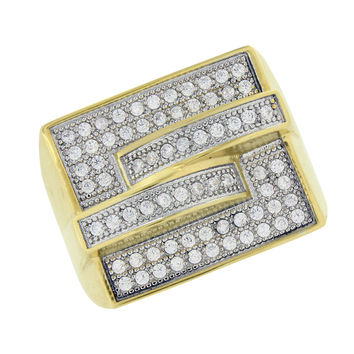 Stainless Steel Mens Ring Gold Finish Wedding Simulated Diamonds Engagement Sale