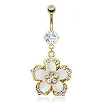 14K gold plated belly ring with dangling jeweled flower: Jewelry