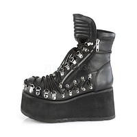 Clash 150 Black Corset Lace Up Goth Ankle Boot