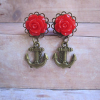 """Pair of Rose Plugs with Antique Brass Anchor Charms - Handmade Girly Gauges - 4g, 2g, 0g, 00g, 7/16"""", 1/2"""", post earrings"""