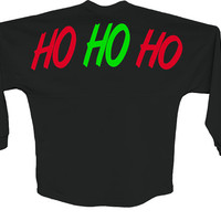 Womens Spirit Jersey. Ho Ho Ho. Long Sleeve. women's clothing. Holiday shirt. Christmas shirt. Womens Clothing. Pom Pom jersey.