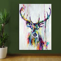 CHENFART Wall Art Canvas Painting Animal Deer Pictures For Living Room Home Decor No Frame Posters and Prints Oil Painting