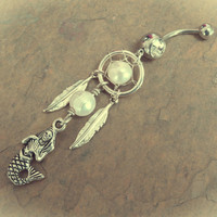 Mermaid Dream Catcher Belly Button Ring with White Pearls Jewelry