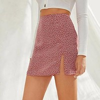 Confetti Print Split Mini Skirt