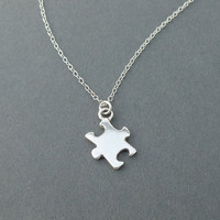 sterling silver puzzle piece necklace - autism awareness